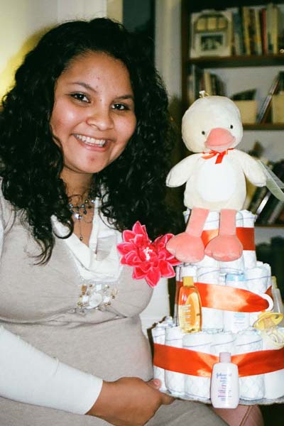 Mayra with diaper cake